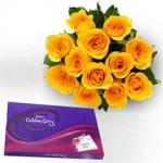 0000556_Bunch-of-12-Yellow-Roses-in-cellophane-Packing-with-yellow-ribbon-bow-and-box-of-139gms-big-cadbury-_240-150x150