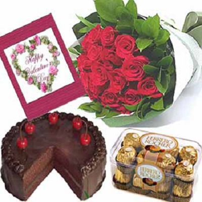 Combo Pack Of 15 Red Roses Bunch 16 Pcs Ferrero Rocher
