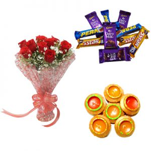 10 Red Roses, Dairy Milk Chocolates, 6 Diyas