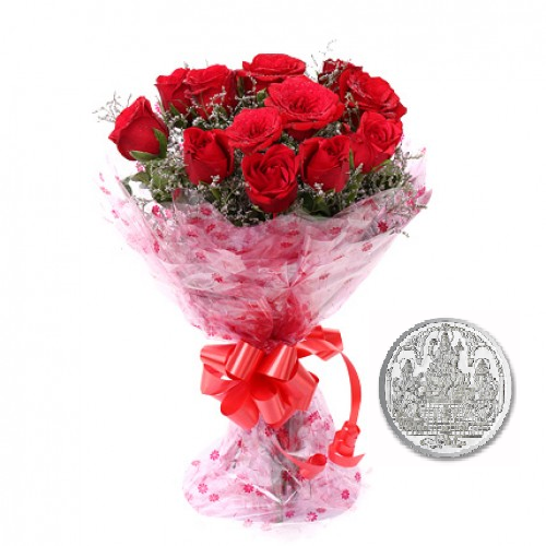 12 Red Roses Bunch with 5 Grams Pure Silver Coin