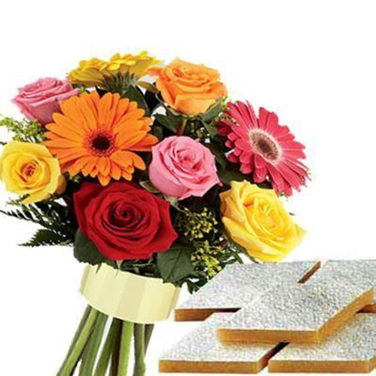 Mix Color 12 Gerbera & Roses Flowers Bunch with Half Kg. Kaju Katri ...