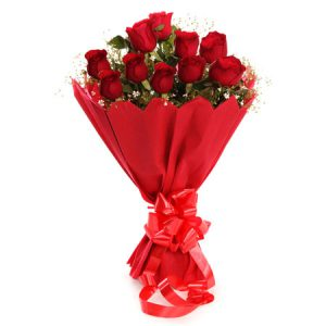 15 Red Roses Stylish Round Bunch with Big Bow