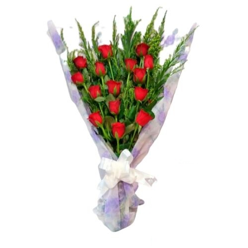 15 Red Roses Bouquet with Fancy Paper Wrapping