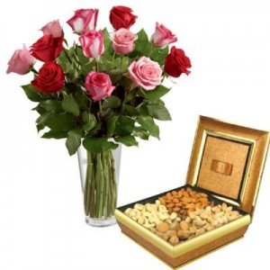 15 Red & Pink Roses in a Vase with Half Kg. Dry Fruit's Box