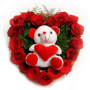 17 Red Rose + Small Teddy