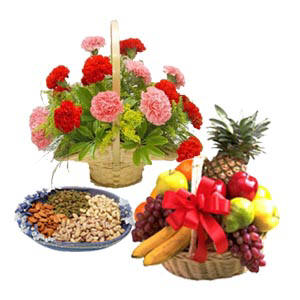 20 Carnation Basket + Big Mix Fruit Basket + 1 Kg Dry Fruit