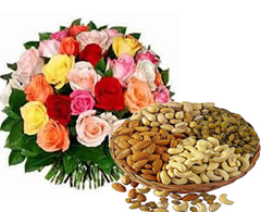 25 Mix Color Roses Bunch + 1 Kg Dry Fruits Box