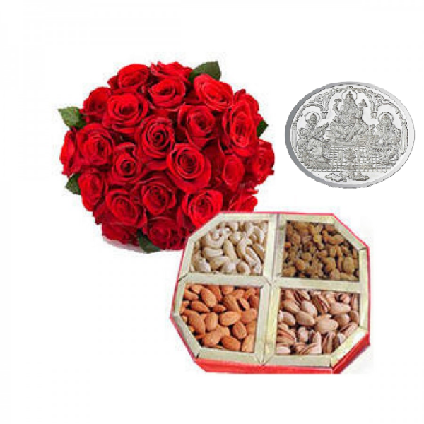 25 Red Roses with Half Kg Dry Fruits box  & 5 Grams Pure Silver Coin