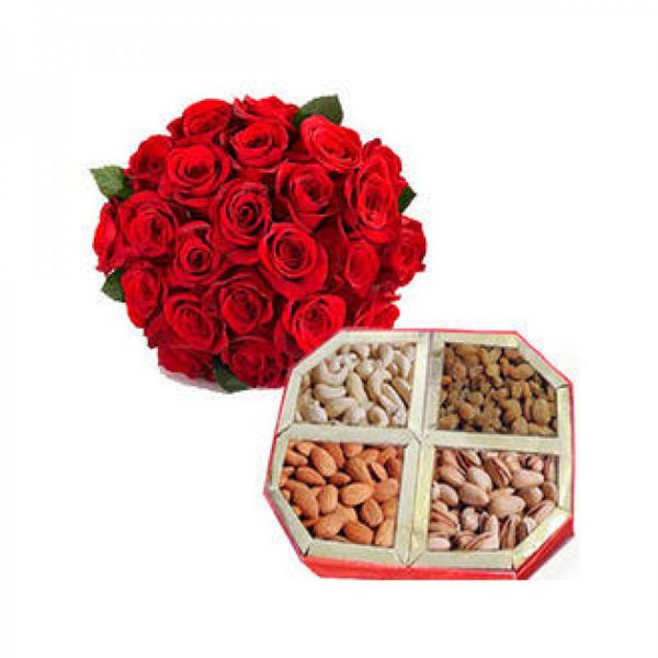 25 Red Roses with Half Kg Dry Fruits Box