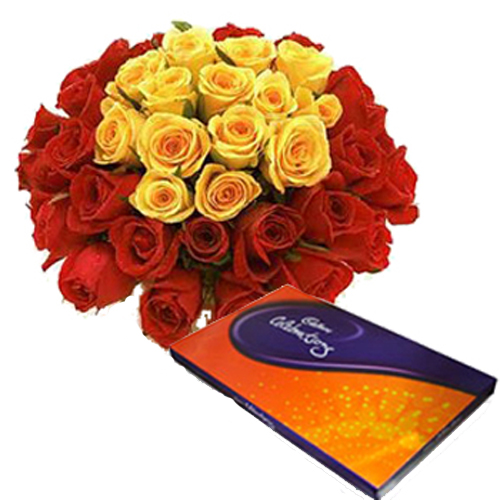 40 Red & Yellow Roses + Big Pack