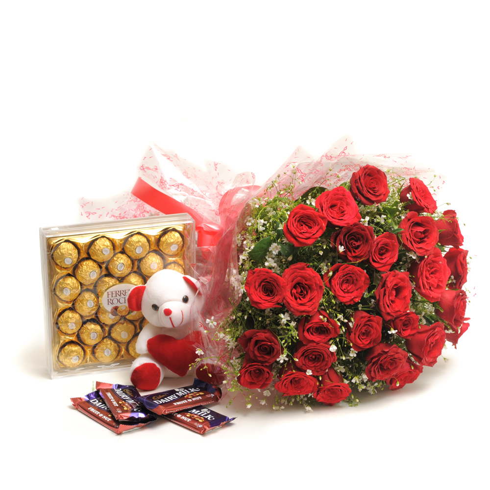 25 Red Roses 24 Pieces Ferrero Rocher Imported Swiss