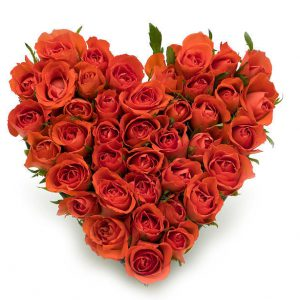 Romantic 50 Red Roses Heart Arrangement