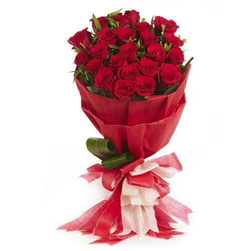 25 Red Roses Round Stylish Bouquet With Red Fancy Paper