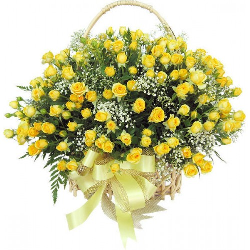 Big 100 Yellow Roses Arrangement in a Basket with Big Yellow Bow – J K Florist