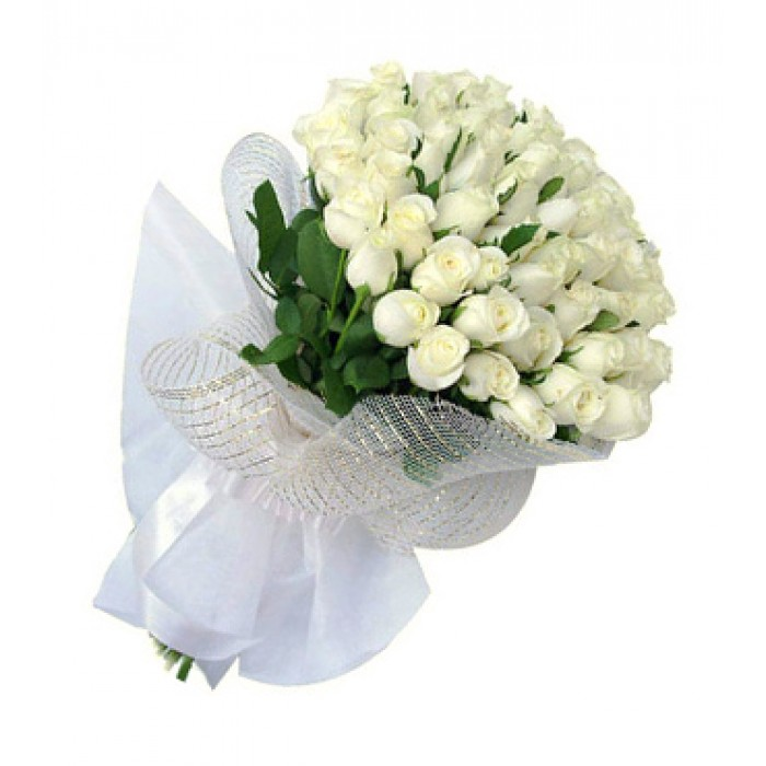50 white roses bunch with white net paper packing j k florist mightylinksfo