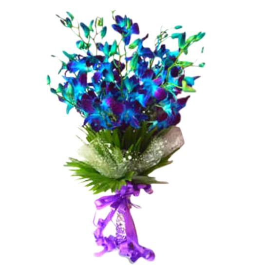 10 Blue Orchids Stylish Bouquet with Exotic Leaves & Purple Bow