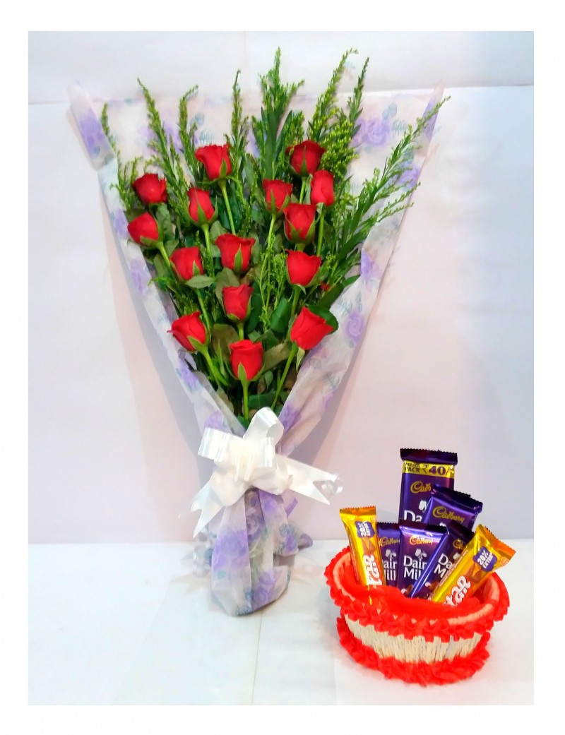 15 red roses bouquet with fancy paper wrapping chocolate basket 15 red roses bouquet with fancy paper wrapping chocolate basket izmirmasajfo