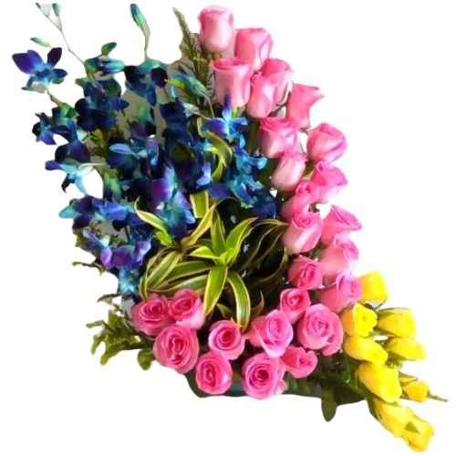 35 Pink & Yellow Roses & 5 Orchids Arrangement with Exotic Leaves in a Pot