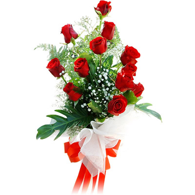 12 Red Roses Stylish Bunch With Red Bow For Other