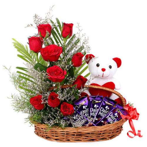 01 Beautiful Basket Arrangement Of 10 Red Roses With Teddy 5