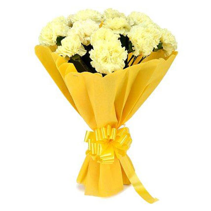 12 Yellow Carnations Stylish Bouquet With Yellow Satin Bow J K Florist