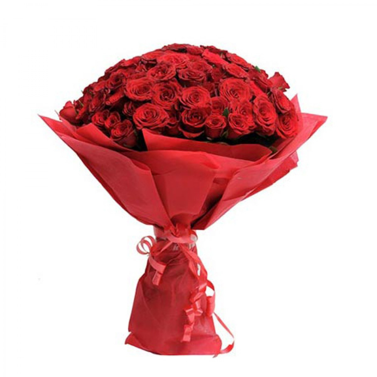 40 Red Roses Fancy Round Bouquet With Red Paper Packing J K Florist