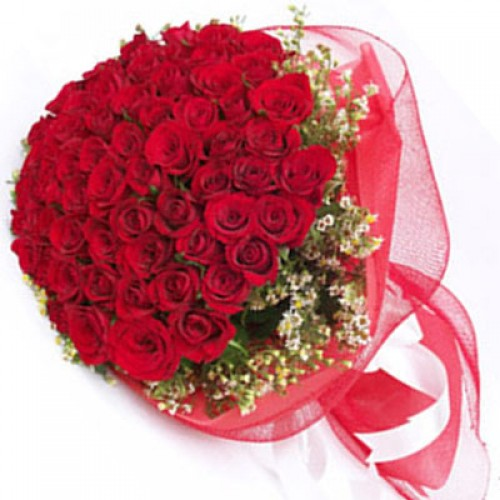 70 Red Roses Designer Round Bouquet With Red Net Wrapping J K Florist