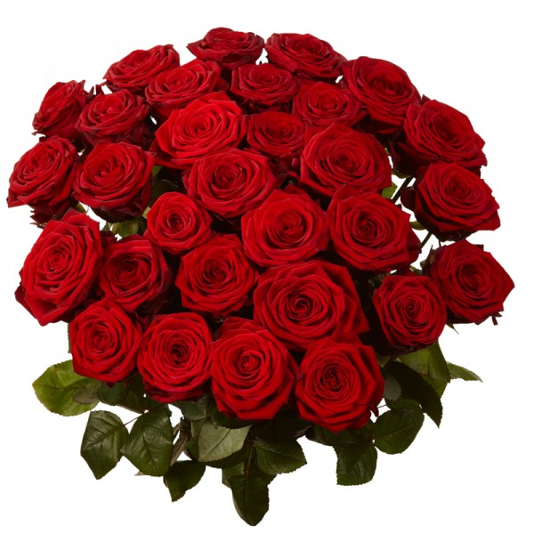 40 Red Roses Round Bunch Tied With Red Ribbon J K Florist