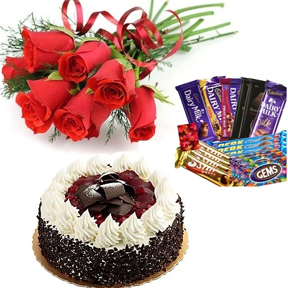 Combo Pack Of 7 Red Roses Bunch With Ribbon Mix Assorted Dairy Milk Chocolates Half Kg Chocolate Truffle Cake J K Florist