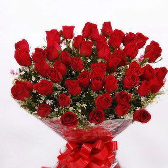 50 Red Roses Round Designer Bouquet With Big Red Bow J K