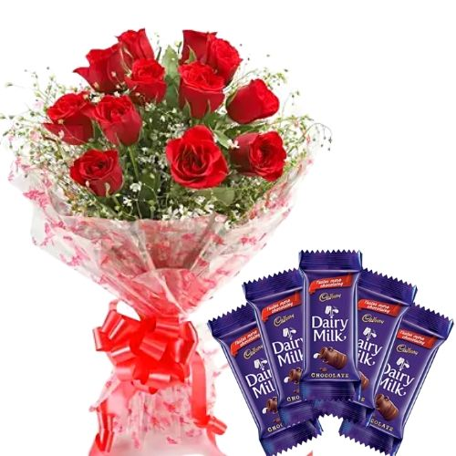 12 Red Roses Simple Bunch + 5 Small Cadbury