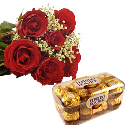 6 Red Roses Bunch 16 Pcs Ferrero Rocher Imported Swiss