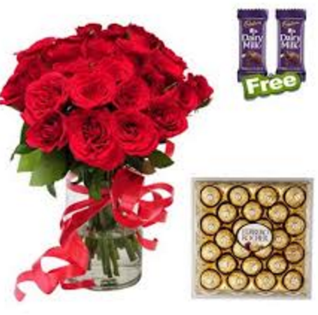 20 Red Roses In A Vase With A Ribbon Bow 24 Pcs Ferrero Rocher