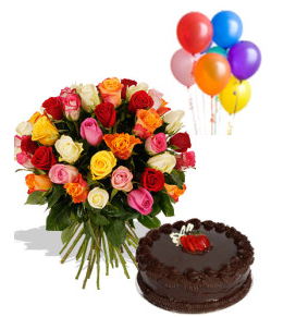 A BIRTHDAY SPECIAL COMBO 30 Mix Color Roses Round Bunch 1 Kg