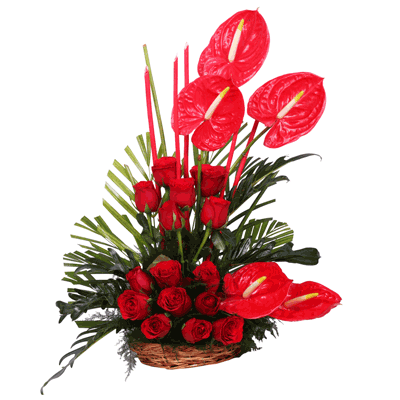 Beautiful Red Roses Amp Red Anthuriums Basket Arrangement