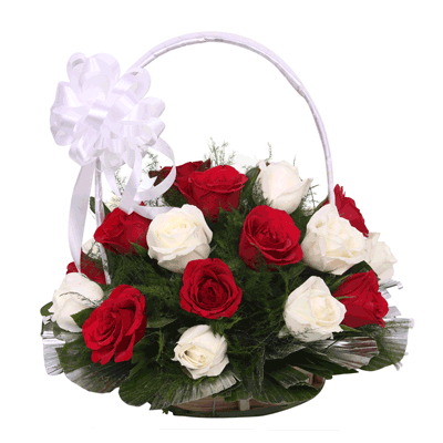 Red white roses basket with big white bow j k florist mightylinksfo Gallery