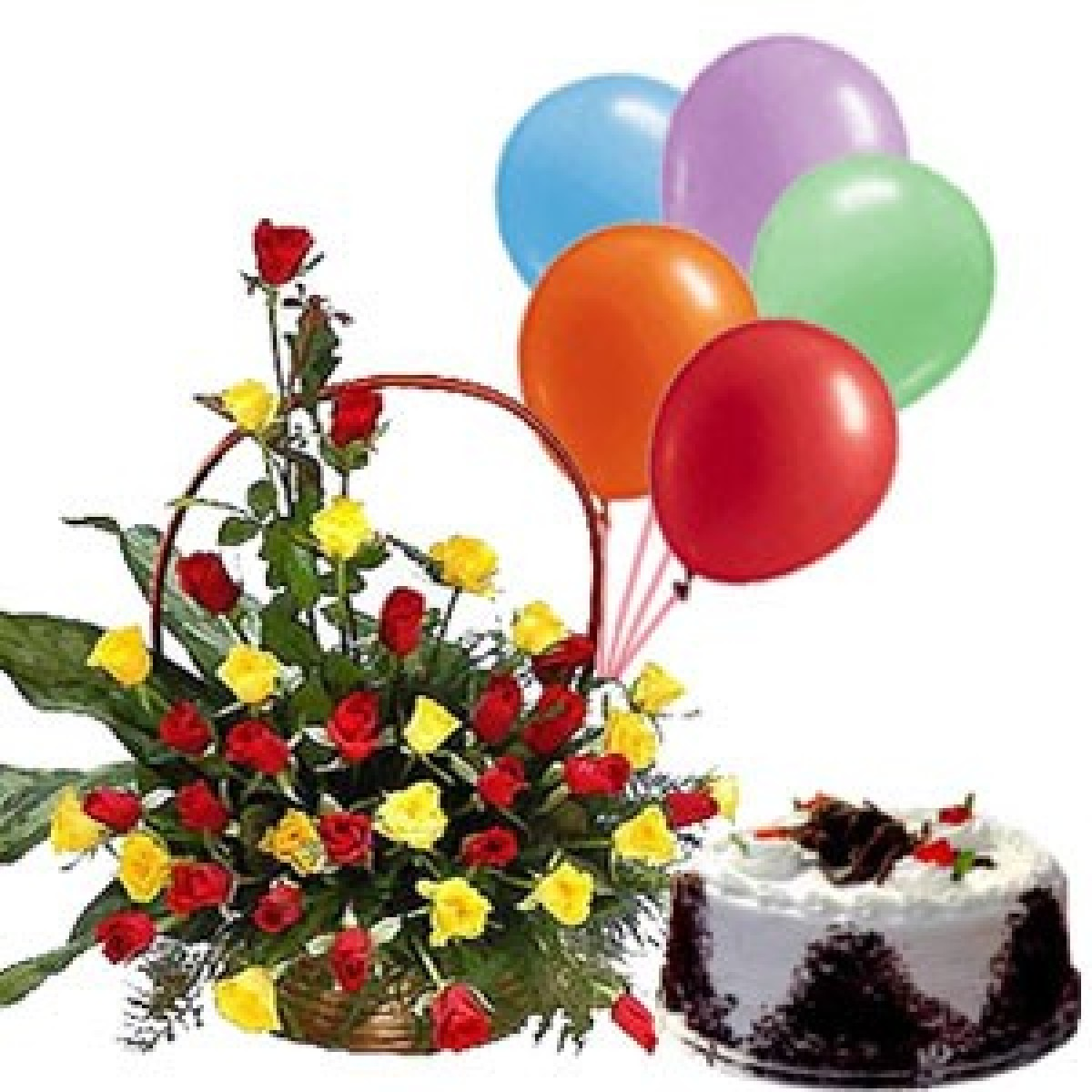 A Birthday Special Combo 30 Red Yellow Roses Basket Arrangement