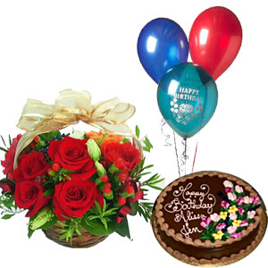 A BIRTHDAY SPECIAL COMBO 12 Red Roses Basket Arrangement Half Kg Chocolate Cake 3 Fully Blown Mix Color Balloons J K Florist