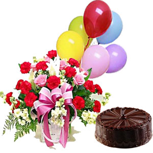 A BIRTHDAY SPECIAL COMBO 30 Red Pink Roses Basket Arrangement 1 Kg Chocolate Cake 6 Fully Blown Mix Color Balloons J K Florist