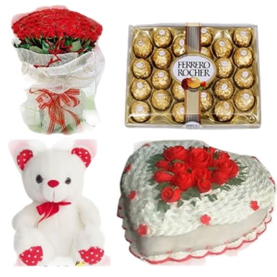 50 Red Roses Bunch with White Paper Wrapping + 24 Pcs Ferrero Rocher Imported Swiss Chocolate Box + Teddy + 1 Kg Heart Shape White Forest Cake