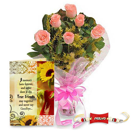 09 pink roses bunch friendship greeting card friendship band