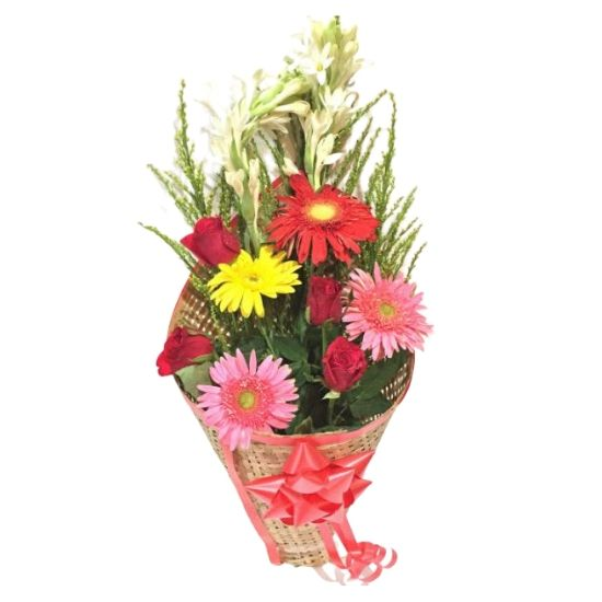 11 Mix Seasonal Fresh Flowers Fancy Bunch with Mat Wrapping & Big Red Bow