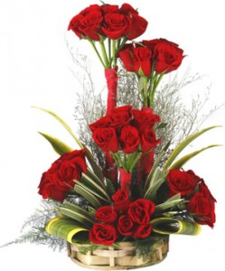 36 Red Roses Beautiful Arrangement With Exotic Leaves J K Florist