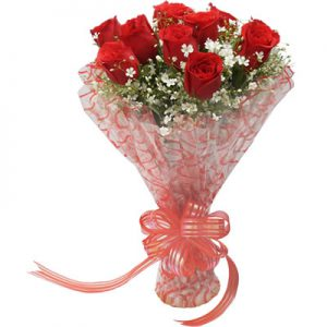 10 Red Roses hand tied in a special packing for the special moments of life.
