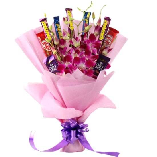 10 Mix Assorted Chocolate and Purple Orchids Bouquet, Nicely Packed in Pink Paper with a Bow