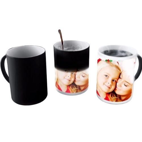 A Specially Customized MAGICAL COLOR CHANGING MUG with a Photo Printed on it