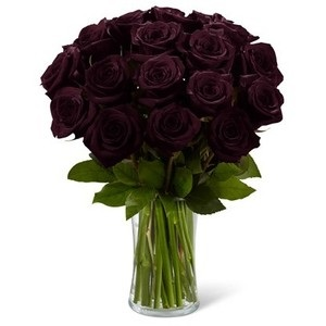 20 Black Roses Bunch In A Re Usable Glass Vase J K Florist