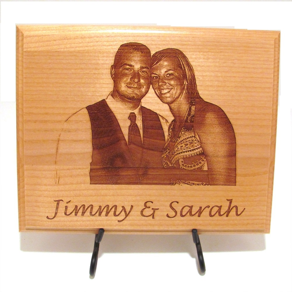 A Specially Customized Photo & Message Engraved Wooden Frame (12″ x ...