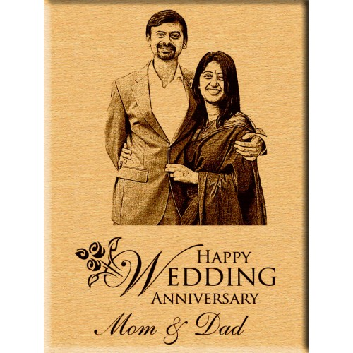 a specially customized photo message engraved wooden frame 5 x 7