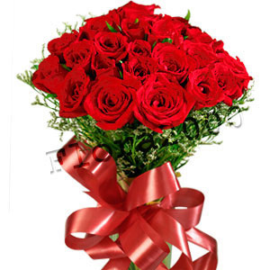 25 red roses bunch with big red bow j k florist